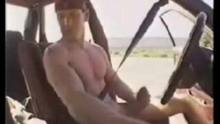 he jerking off in car on a road